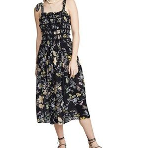 Free People Isla Floral Midi Dress in Midnight